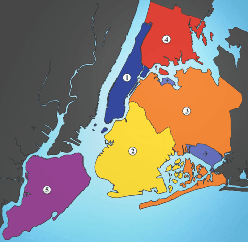 Les 5 arrondissements de NYC